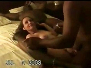 Interracial gangbang of a trashy white slut...